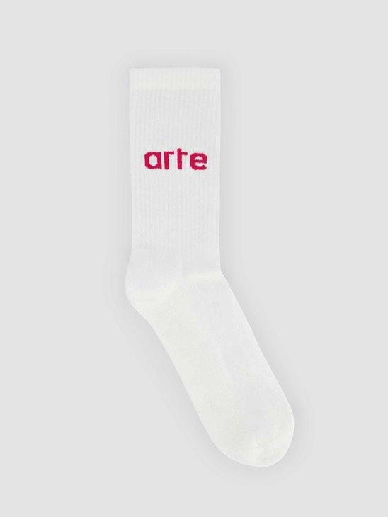 Arte Antwerp Logo Sock White Pink 076SK