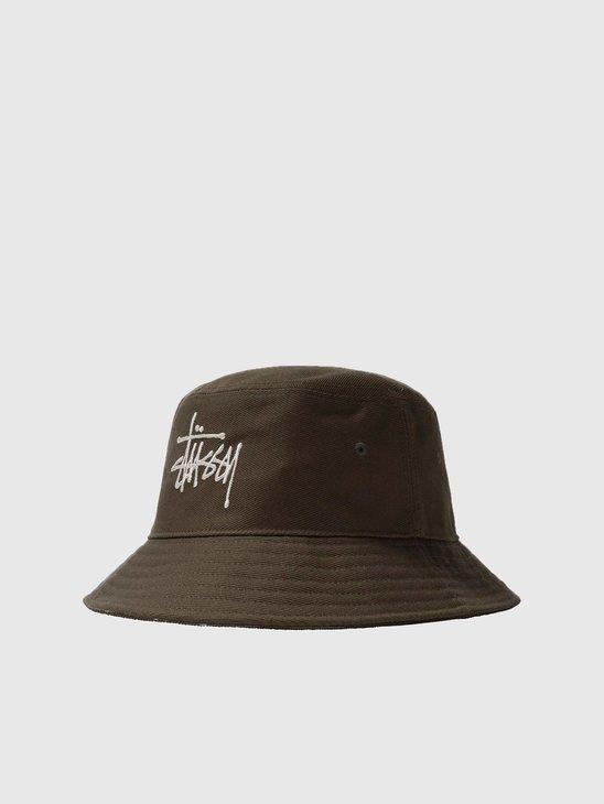 Stussy Big Logo Twill Bucket Hat Olive 1321024-0403