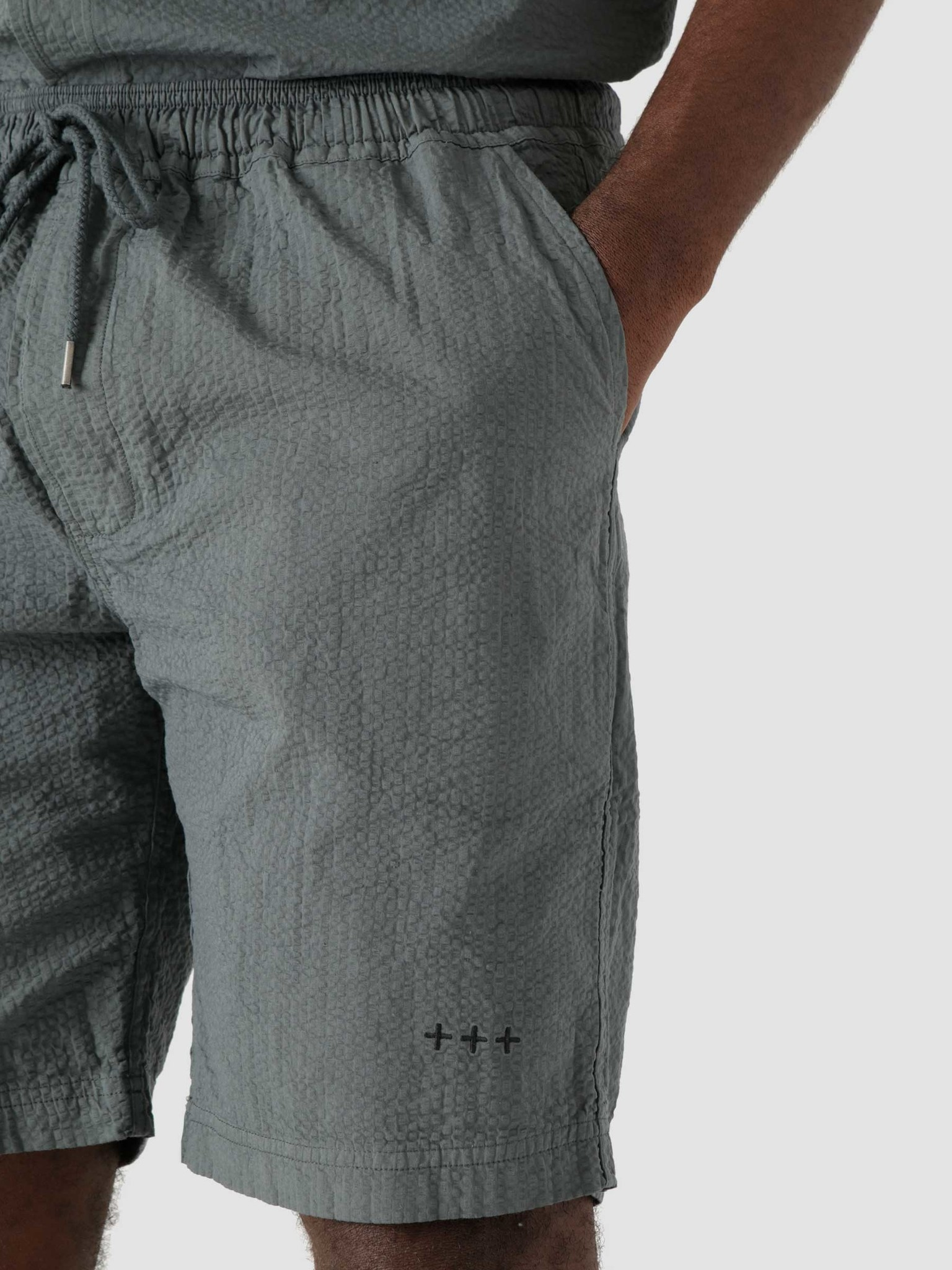 Quality Blanks Quality Blanks QB36 Seersucker Short Teal Blue