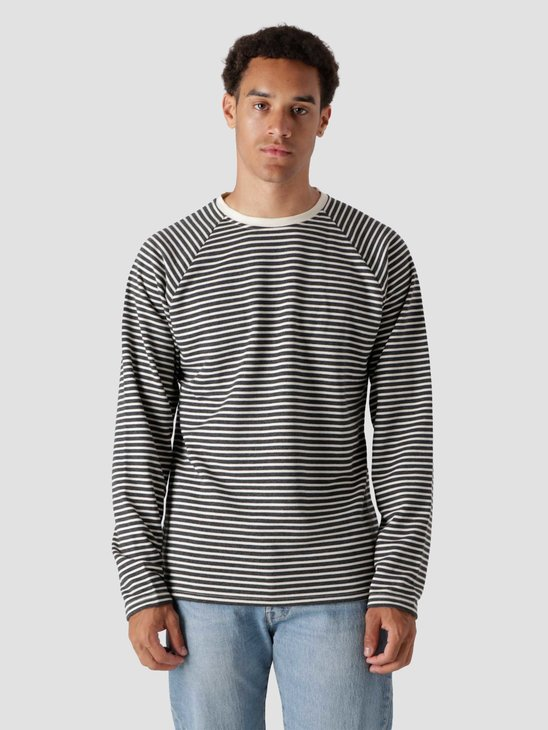 Quality Blanks QB603 Stripe Longsleeve Black Off White