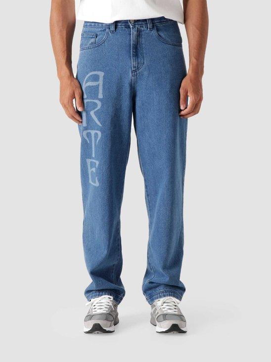 Arte Antwerp Paul Front Logo Pants Light Blue Denim AW21-002P