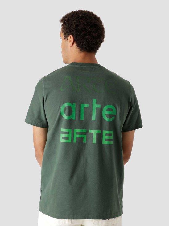 Arte Antwerp Tissot Back Multi Logo T-Shirt Green AW21-073T2