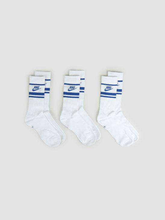 Nike Crew NSW Essential Stripe Socks White Game Royal Game Royal CQ0301-105