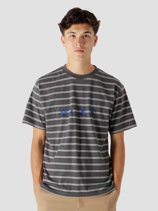 Olaf Hussein OLAF Mini Stripe T-Shirt Dark Grey White