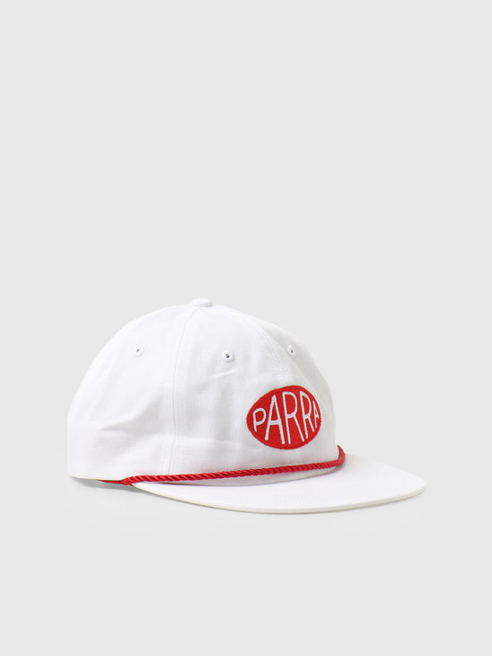 by Parra Oval Logo 6 Panel Hat White  46160