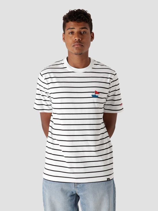 by Parra Paper Boat Striper T-Shirt White  46110