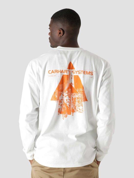Carhartt WIP Longsleeve Pyramid T-Shirt White Orange I029622