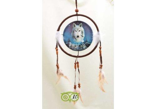 Dromenvanger 'Wolf Spirit waakt over roedel' Lisa Parker 16 cm