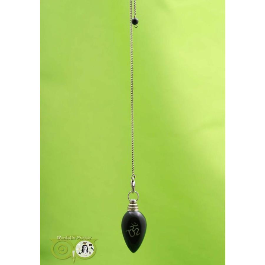 Pendel OHM gepolijste zwarte agaat (21 gram)-2