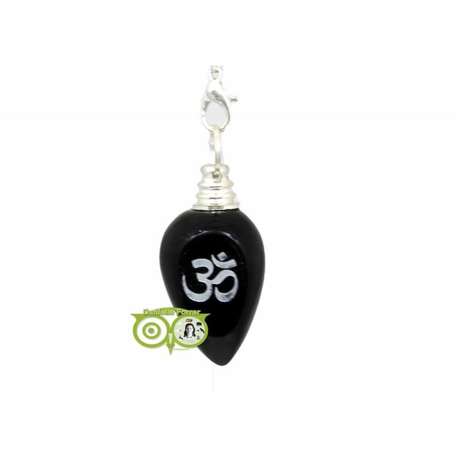 Pendel OHM gepolijste zwarte agaat (21 gram)-1