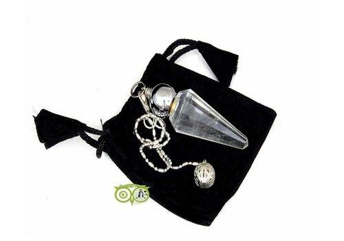 Pendel bergkristal facet geslepen spitse punt + kraal (23 gram)