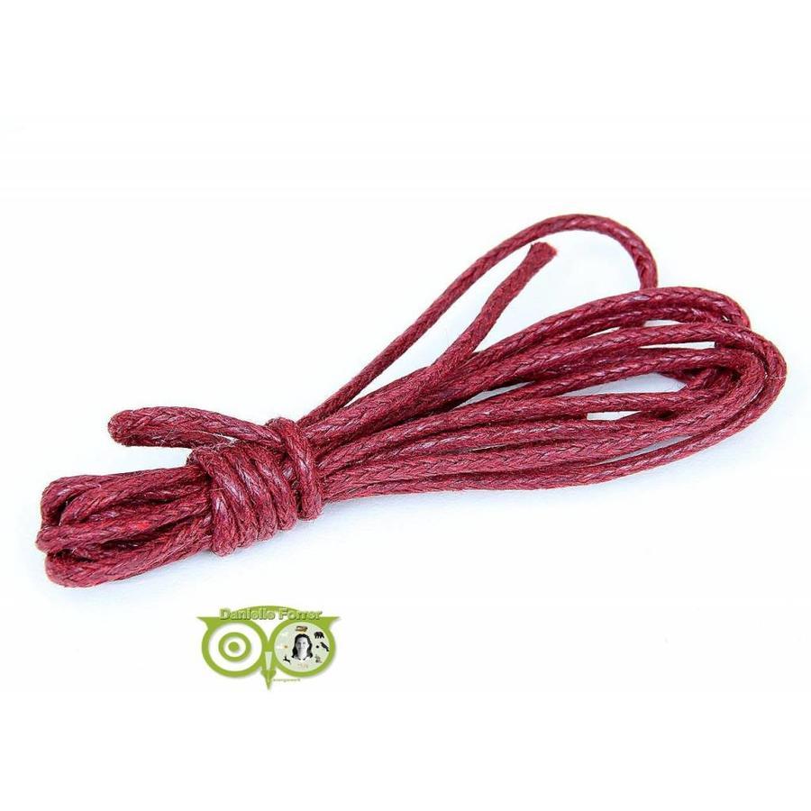 Waxkoord 1.5 mm Rood / Ruby Red 1,2 mtr-1