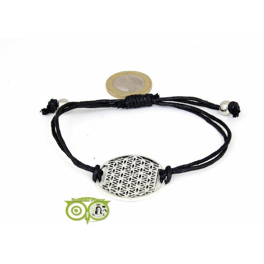 Armbandje: Flower of Life aan koordje (zwart)-1