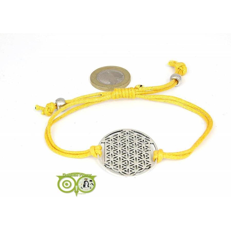 Armbandje: Flower of Life aan koordje (geel)-1