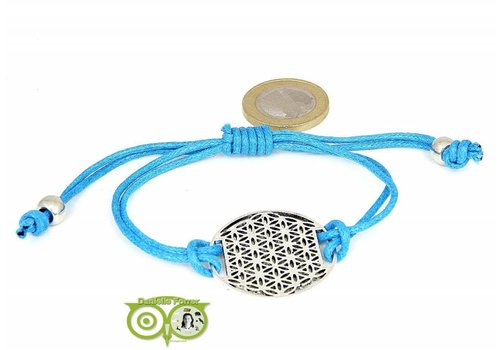 Armbandje: Flower of Life aan koordje (middenblauw)