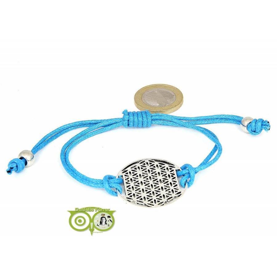 Armbandje: Flower of Life aan koordje (middenblauw)-1