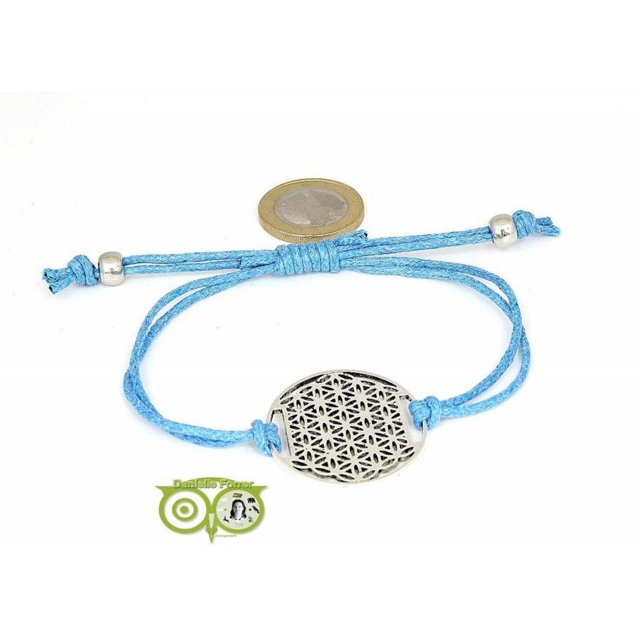 Armbandje: Flower of Life aan koordje (lichtblauw)-1