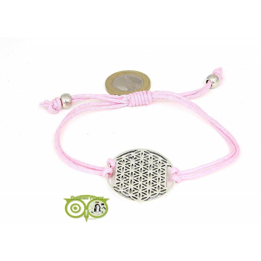 Armbandje: Flower of Life aan koordje (roze)-1