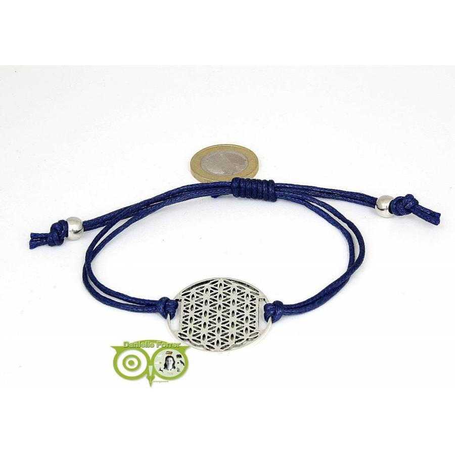 Armbandje: Flower of Life aan koordje (donkerblauw)-1