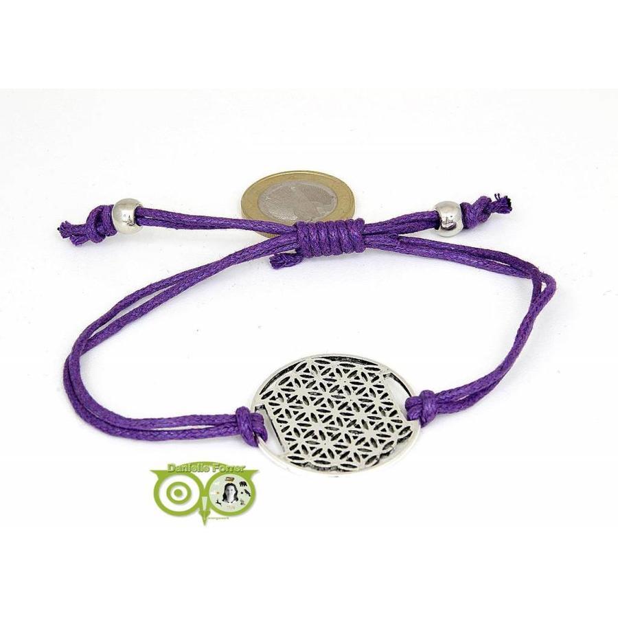 Armbandje: Flower of Life aan koordje (paars)-1