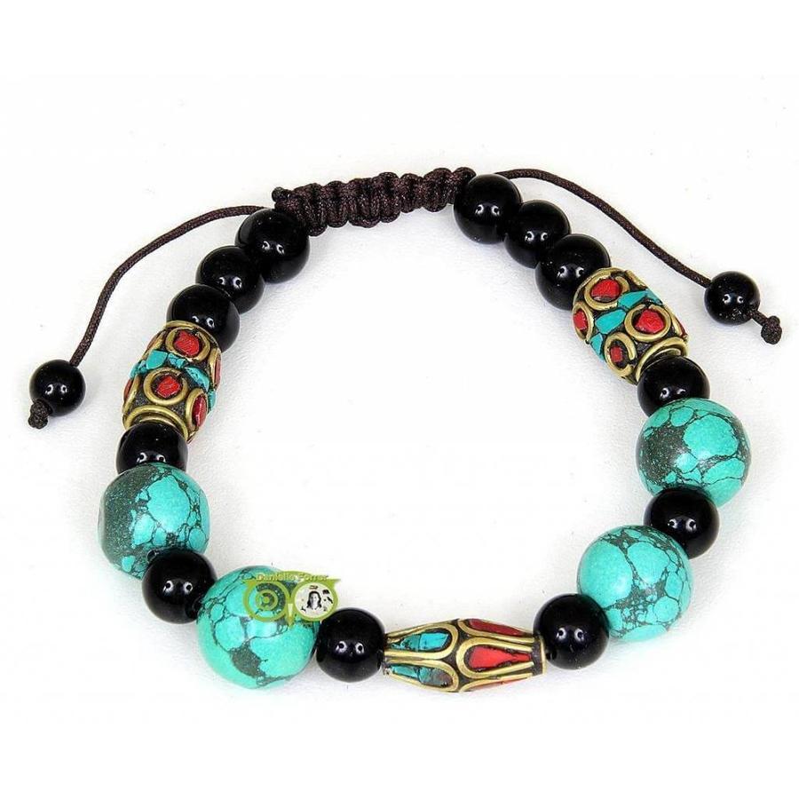Armband turkoois koraal & zwarte onyx-1