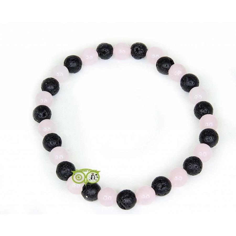 Armband lava/rozenkwarts - 19 cm-1