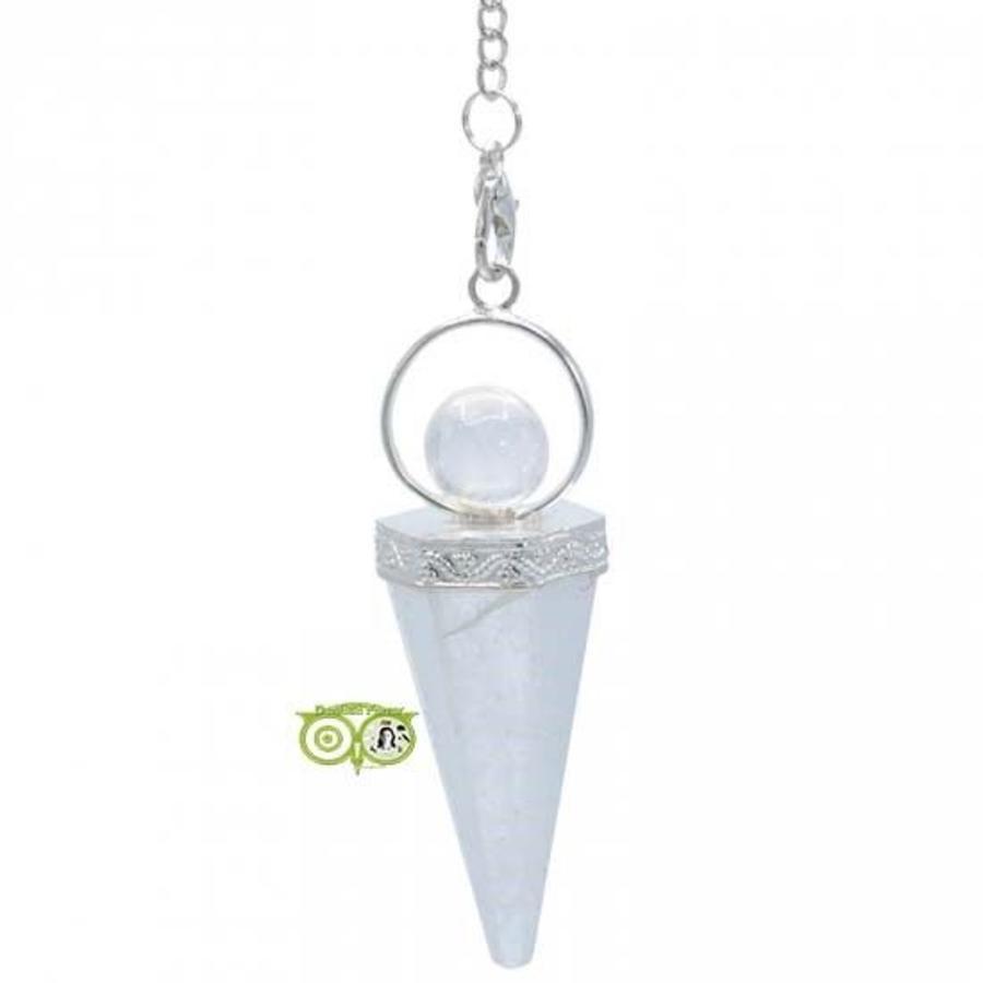 Pendel Godin - bergkristal - combinatie punt en bolvorm-2