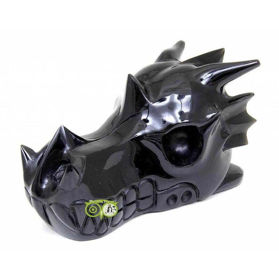 Obsidiaan draken schedel 297 gram-5