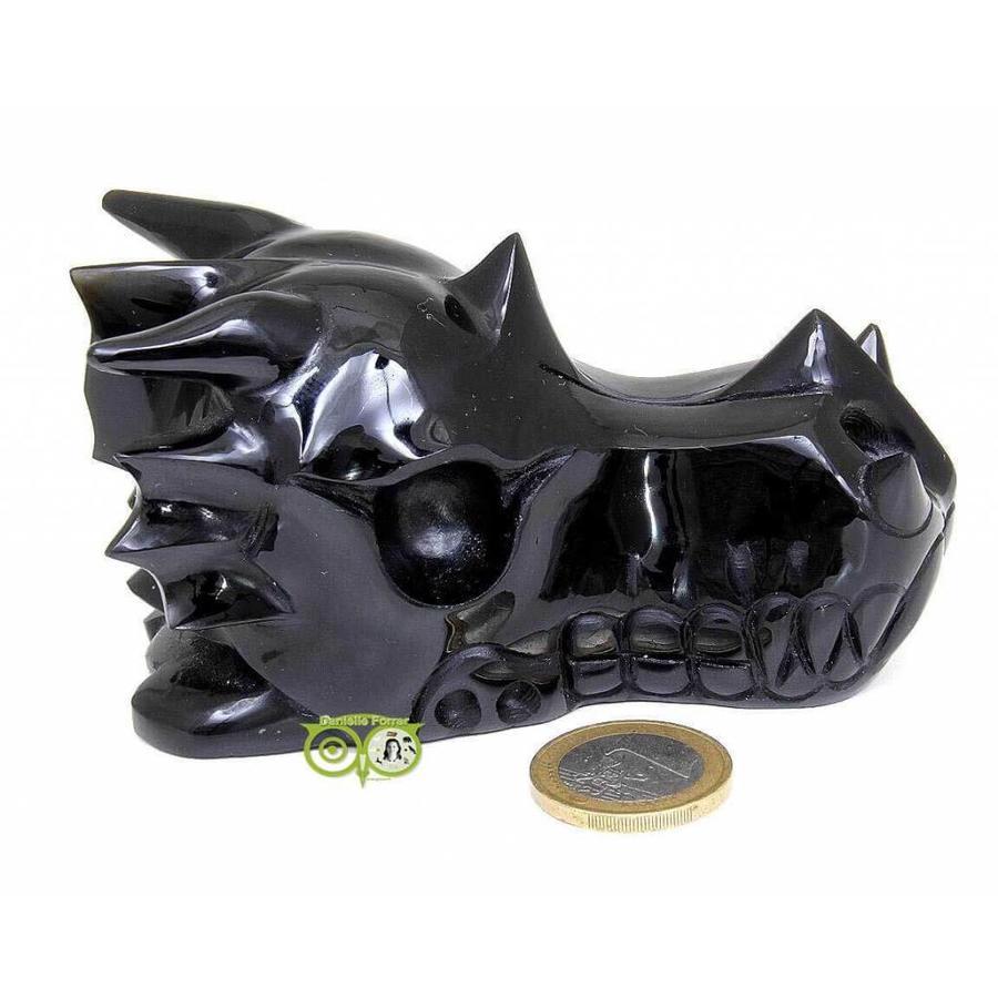 Obsidiaan draken schedel 297 gram-10