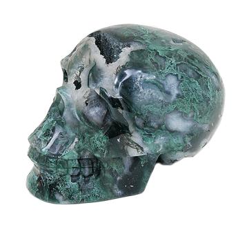 Mosagaat schedels | Mos-Agaat kristallen schedel | Edelstenen webwinkel - Webshop Danielle Forrer