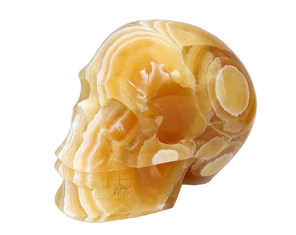 Calciet schedels | gele Calciet schedel / Oranje Calciet kristallenschedel | Edelstenen webwinkel - Webshop Danielle Forrer
