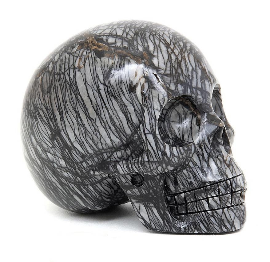 Picasso Jaspis schedel | Spinnenweb Jaspis schedel | Kristallen schedel | Crystal Skull | Edelstenen Webwinkel - Webshop Danielle Forrer