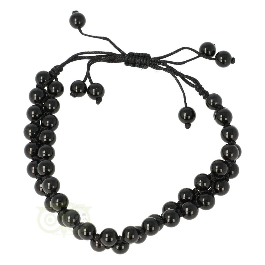 Armband - Zwarte Agaat - Verstelbaar-2