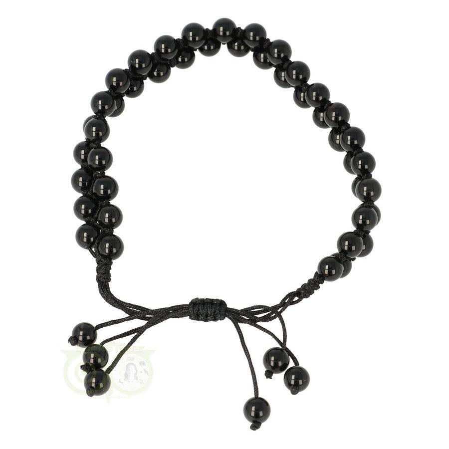 Armband - Zwarte Agaat - Verstelbaar-1