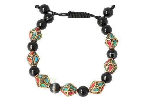 Armband turkoois, koraal & zwarte onyx