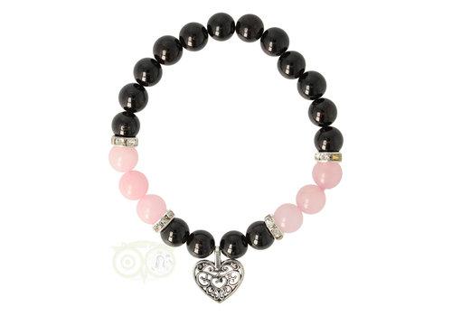 Armband granaat/rozenkwarts met hartje