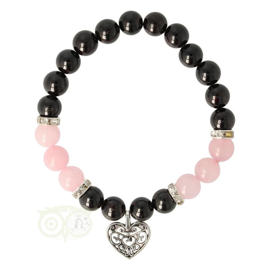 Armband granaat/rozenkwarts met hartje-1