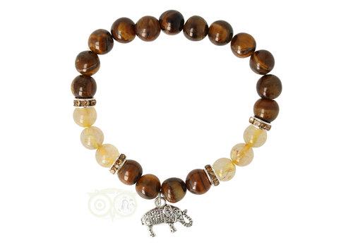 Armband tijgeroog / rutielkwarts met olifant