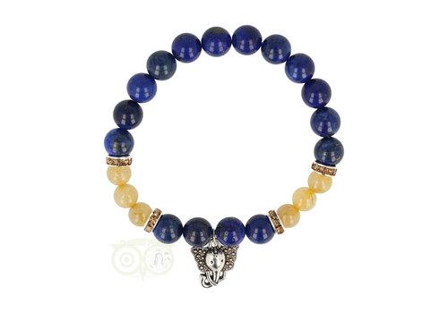 Armband lapis lazuli / rutielkwarts met ganesha
