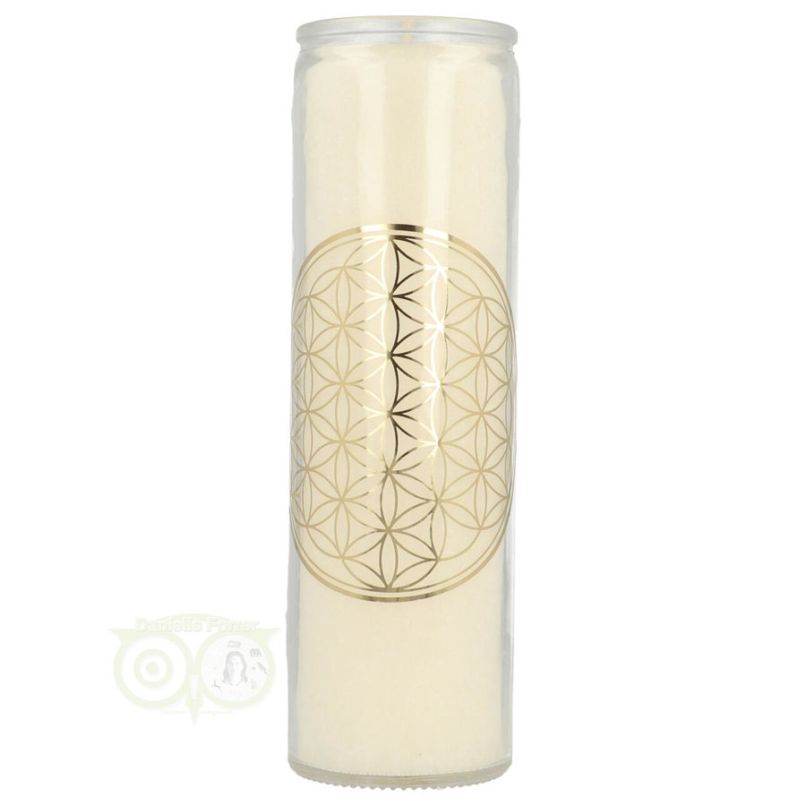 Geurkaars Flower of Life - wit - stearine in glas-2