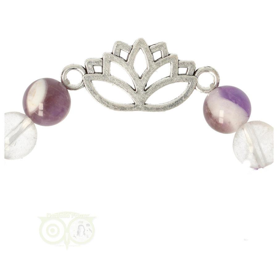 Armband chevron amethist / bergkristal met lotus-3