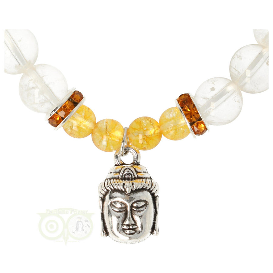 Armband citrien / bergkristal met boeddha bedel-2
