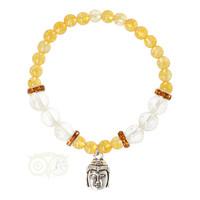 thumb-Armband citrien / bergkristal met boeddha bedel-1