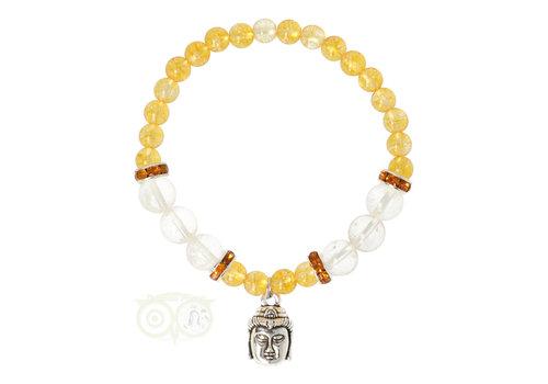 Armband citrien / bergkristal met boeddha bedel