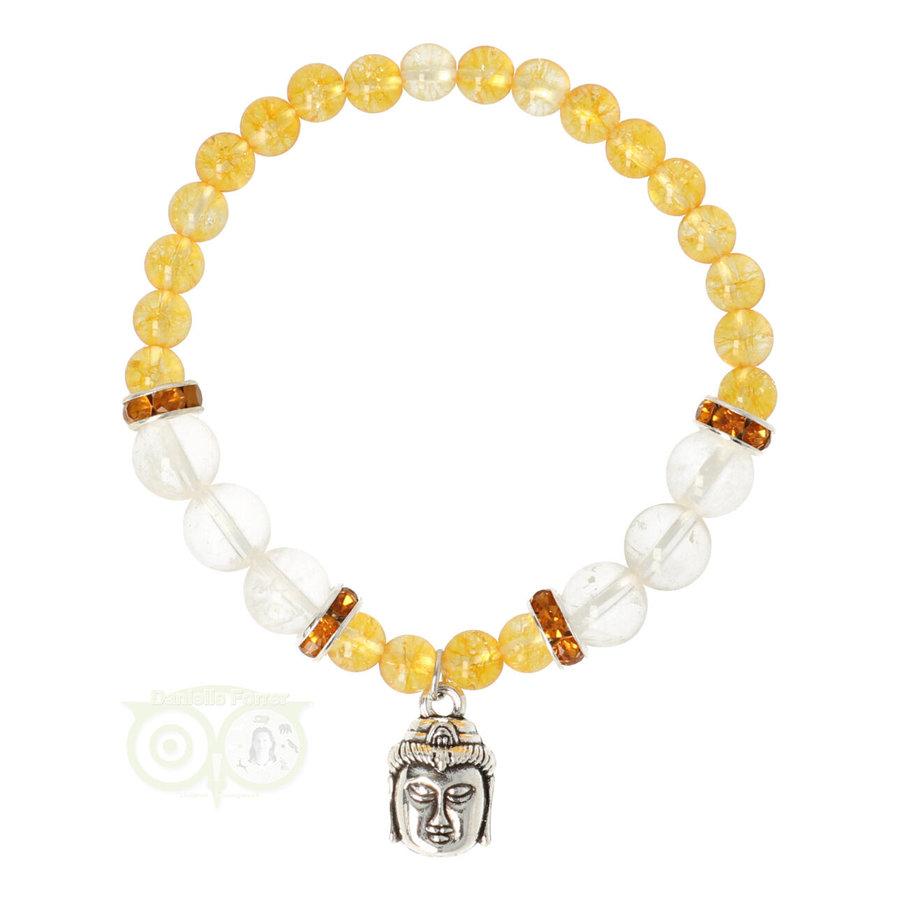 Armband citrien / bergkristal met boeddha bedel-1