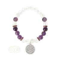 thumb-Armband bergkristal / amethist + bloem des levens bedel-1