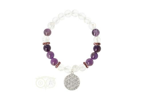 Armband bergkristal / amethist + bloem des levens bedel