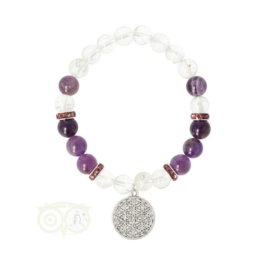 Armband bergkristal / amethist + bloem des levens bedel-1