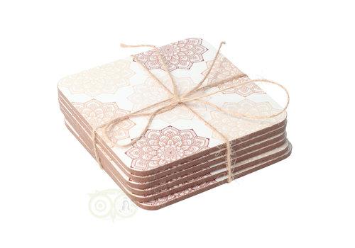 Mandala onderzetters Bruin/Roze set van 6