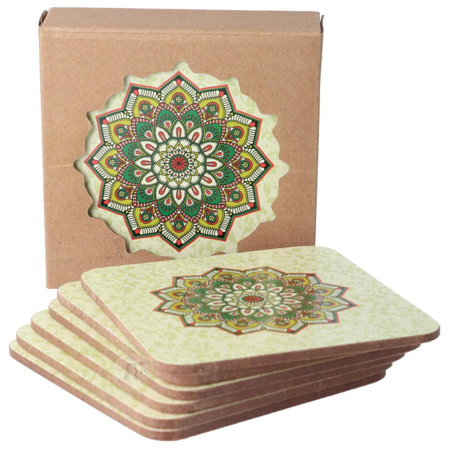 Mandala onderzetters Groen set van 6-2